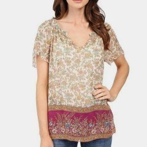 Lucky Beand Floral Border Print Blouse S NWT